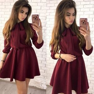 Wine Color - Front Bow Mini Dress w/ 3 Qtr Sleeves